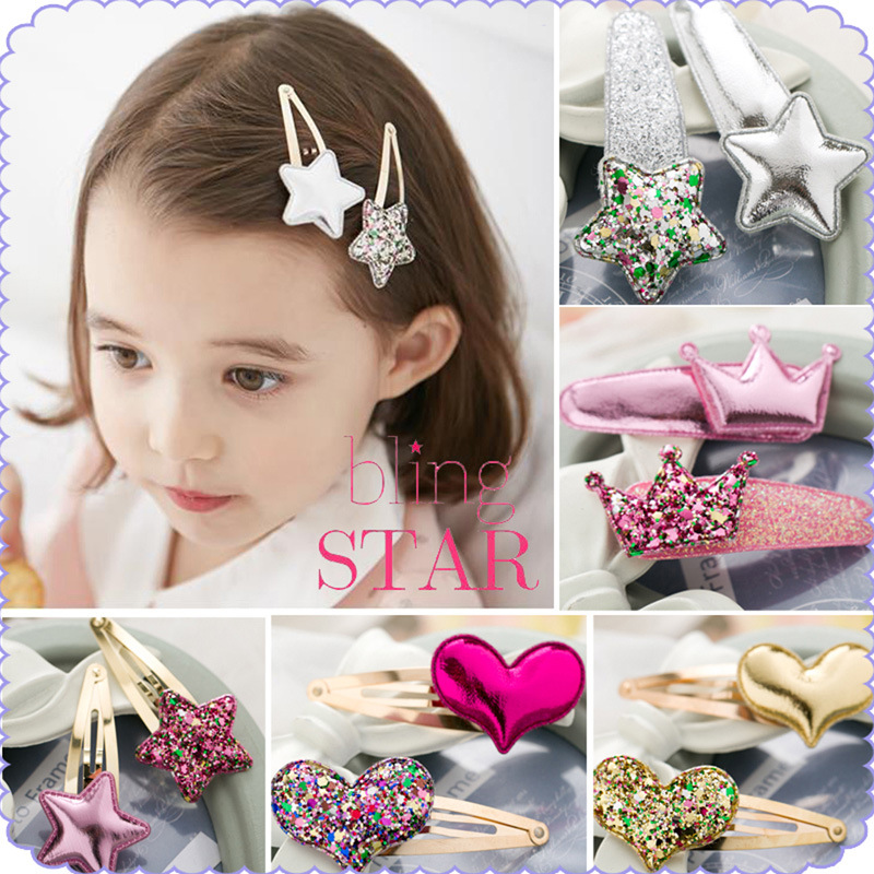 New 2pcs Girls Cute Shine Heart Crown Star Hairpins BB Clips Princess Headwear Barrettes Hair Holder Kids Hair Accessories