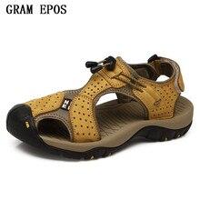 GRAM EPOS Mens Sandals Genuine Leather Summer 2018 New Beach Men Casual Shoes Outdoor Sandals Plus Size 38-45