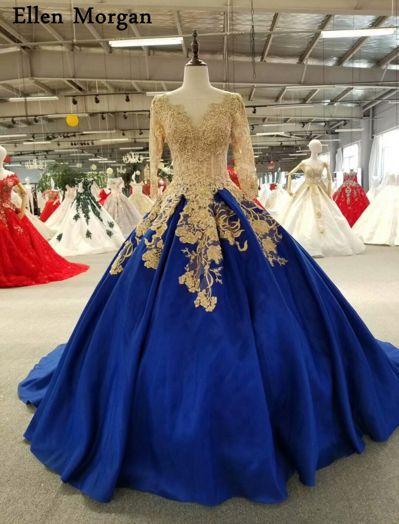 Royal Blue Satin Ball Gowns Wedding Dresses 18 Vestido De Noiva Long  Sleeves Corset Gold Lace Pearls Bridal Gowns for Women