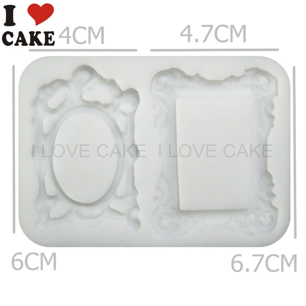 3D Mirror Frame Silicone Fondant Mould Cake Decorating Chocolate ...