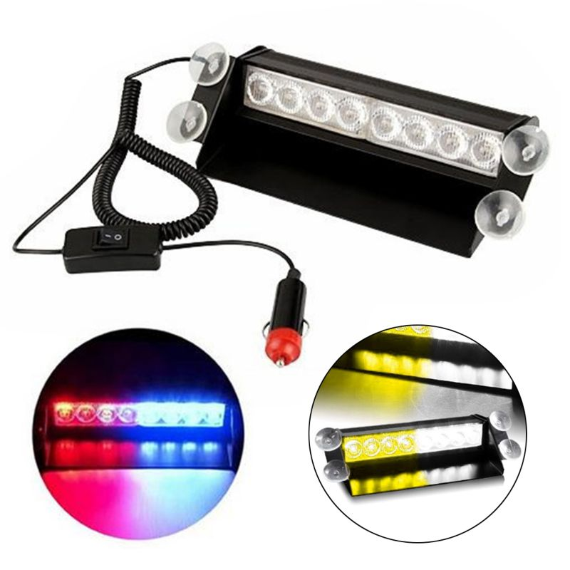 Car Truck Emergency Flasher Dash Strobe Warning Light Day Running Flash Led Police Lights 8 LEDs 3 Flashing Modes 12V in Signal Lamp from Automobiles Motorcycles