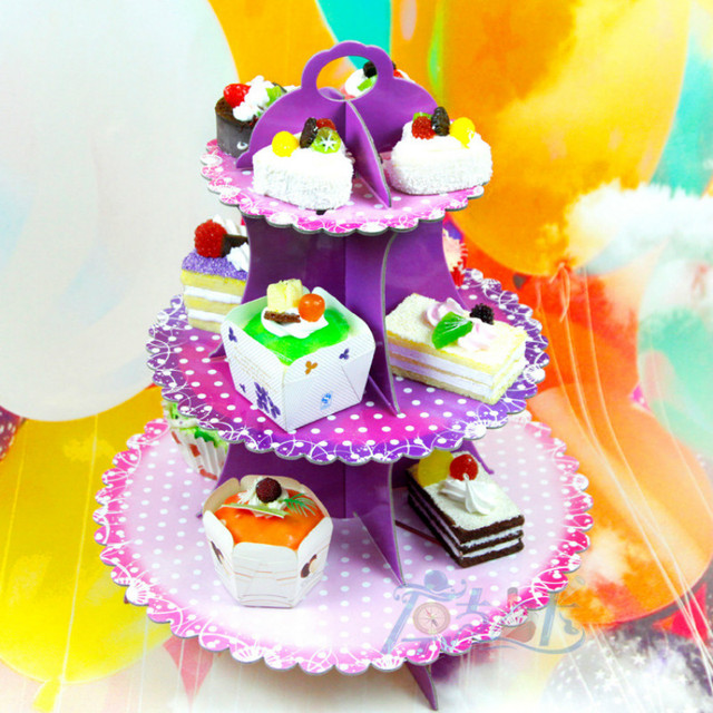 3 Tier Cardboard Paper Cupcake Cake Stand Plates Display Holder Tray