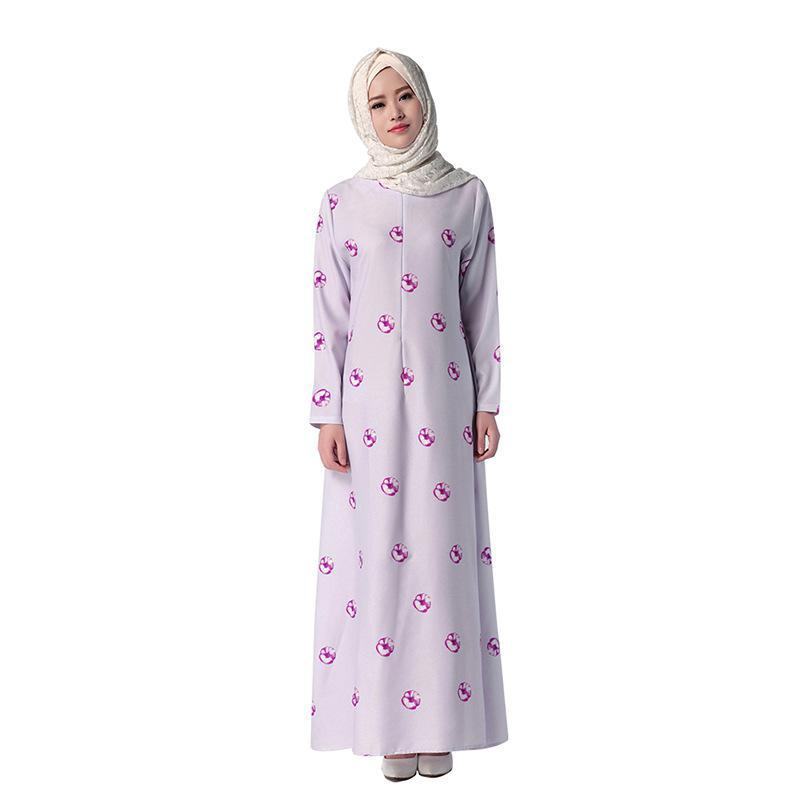 iRicheraf Printed Maxi Dress In Ethnic Style Muslim Clothing Women Elegant O-neck Vestidos Long Sleeve Dresses Hot Sale Lavender