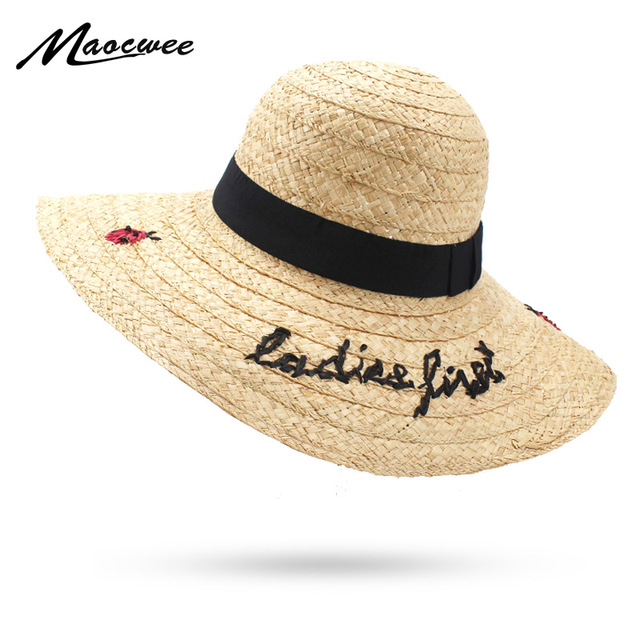 8089eee35fc 2018 Letter Embroidery Cap Big Brim Ladies Summer Straw Hat Youth Hats for Women  Shade Sun Hats Ladybird Beach Hat for Girls