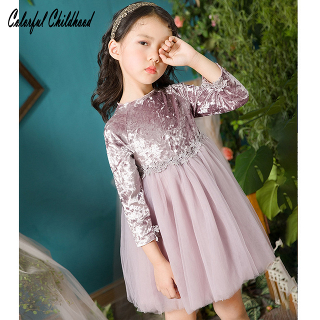 7dfc397c6b8369 Girls Dress Vintage Velvet Top Party Wedding Special Occasi Princess kids  dresses for girls clothes spring