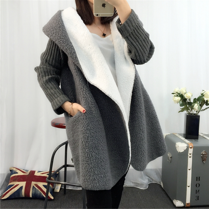 Autumn Winter New Hooded Coat Cardigan Sweater Women's Solid Color Thick Soft Fashion