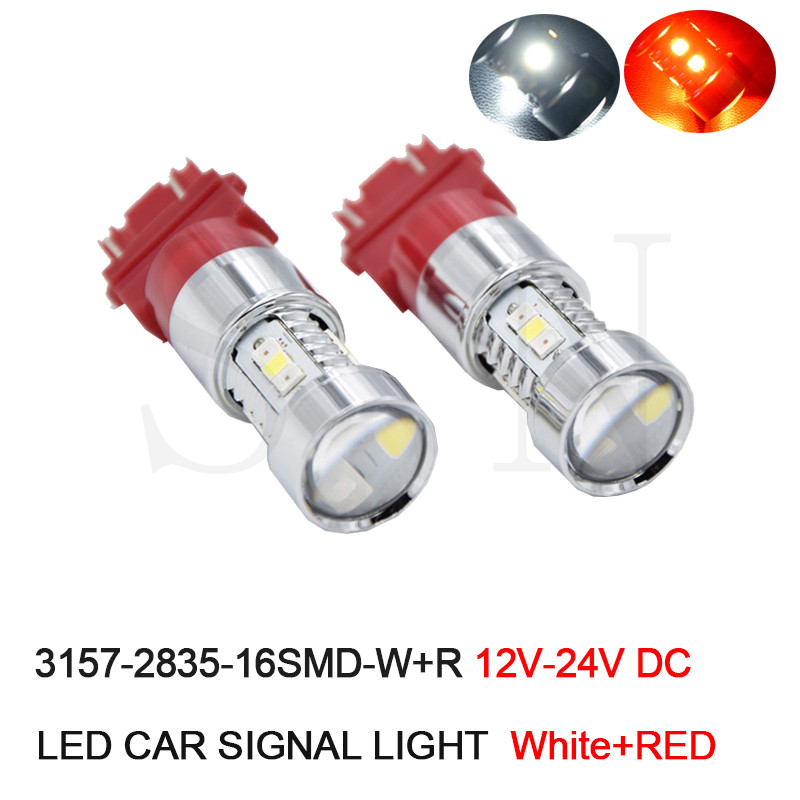 2 x T25 3157 P27/7W Dual Color White RED LED Switchback Extremely Super Bright High Power 2835 16-SMD LED Stop Brake Light Bulbs