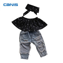 Fashion Toddler Baby Girls Black Blouse Top Hole Casual Denim Pants Outfits Set(China)