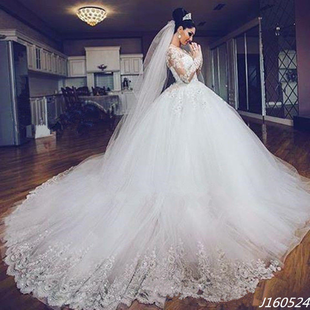 2429a2d7ee1a Modest Ball Gowns Wedding Dresses 2016 Illusion Long Sleeve Lace Alibaba  China Luxury Bride Dress cheap dresses for sale