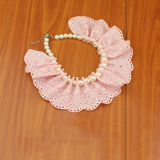 Lace Pearl Dog or Cat Necklace Collar Perfect For Weddings and Parties