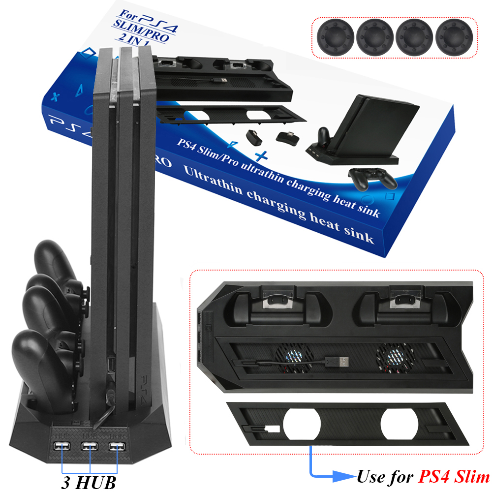 PS4 Slim / PRO 2 in 1 Vertical Stand with Dual Joypad Charging Station & 3 HUB Port 4 Caps for Sony PlayStation 4 PS4 видеоигра для ps4 littlebigplanet 3