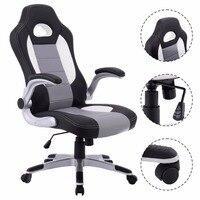 Goplus 2018 הנהלת עור PU סגנון מירוץ דלי מושב ארגונומי משחקי מחשב מסתובב כיסא כורסא רהיטים CB10070