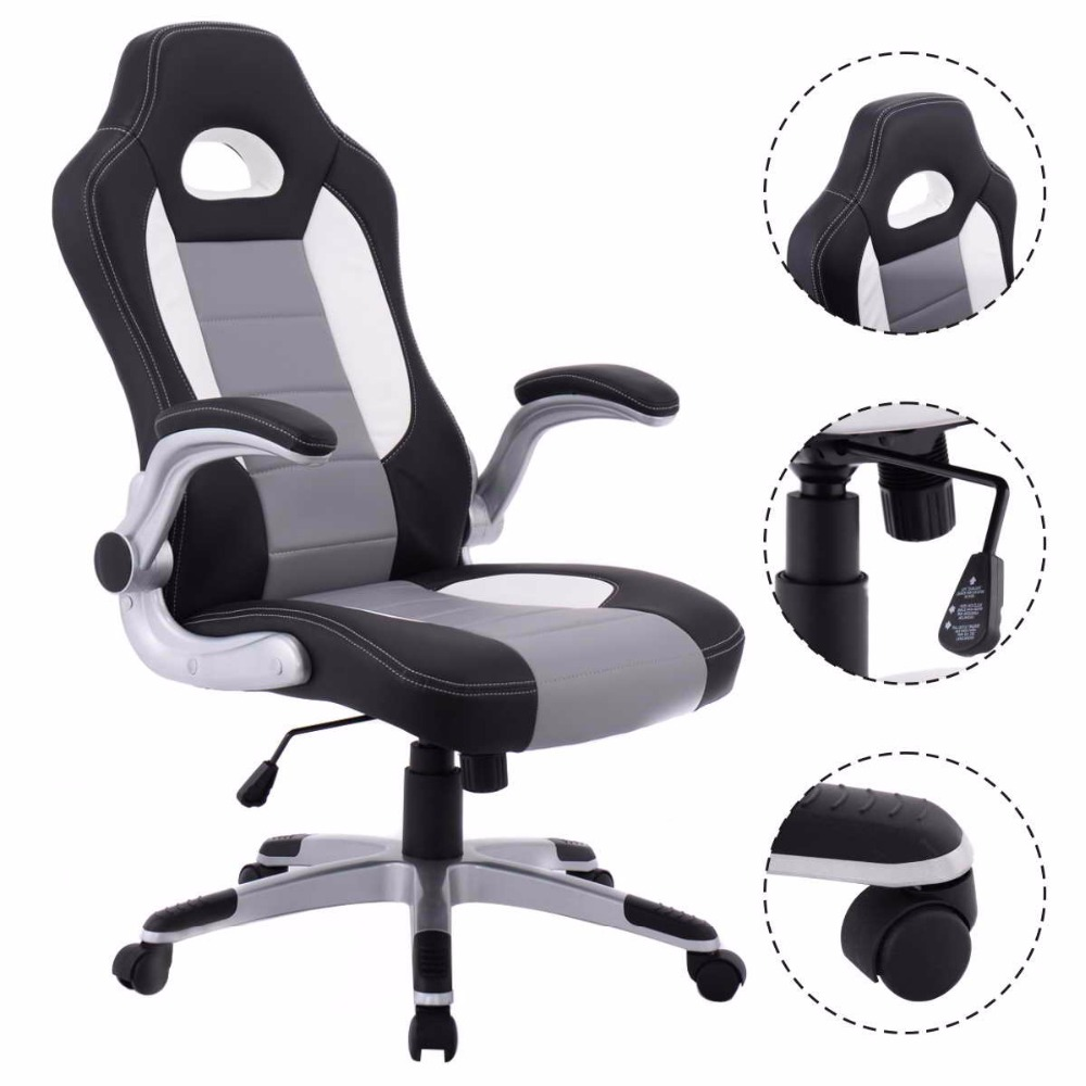 Goplus 2018 PU Leather Executive Racing Style Bucket Seat Ergonomic Computer Gaming Chair Swivel Armchair Furniture CB10070 ...
