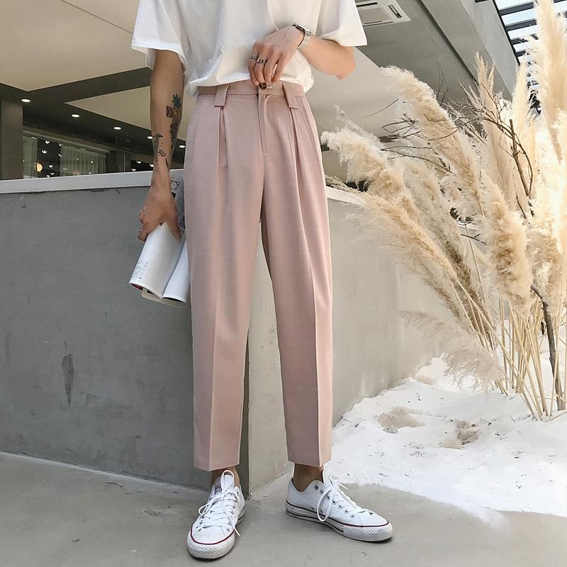 Men Black Gray Pink Fashion Casual Plaid Suit Pant Male Streetwear Hip Hop Straight Pants Loose Harem Trousers