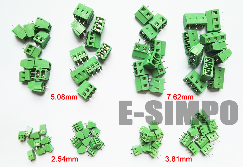 E-Simpo PCB Screw Terminal Block Connector Assortment Kit, 2.54mm 3.81mm 5.08mm 7.62mm 2P 3P 8Valuesx10PC Total 80pcs CE UL Rohs hot factory direct wholesale idc40 male plug 40pin port header terminal breakout pcb board block 2 row screw
