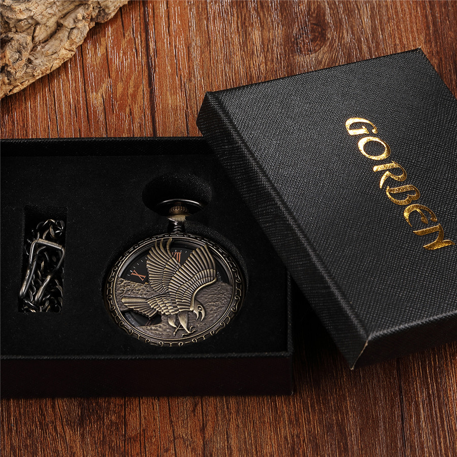 Gravado Colar Steampunk Fob Unisex Mens Relógio Pendente Do Vintage