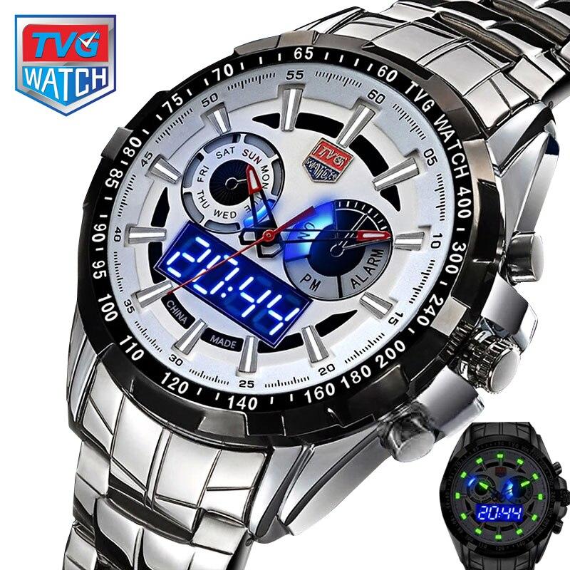 ФОТО TVG 2017 Sport Men Full Steel Quartz Digital Military Wristwatch City Hunter LED Pointer Waterproof Men Tachymeter Dress