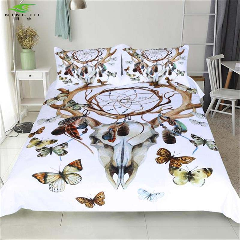New Boho Dreamcatcher Bedding Set Ram's Horn Butterfly Polyester Duvet Cover Sets Twin Queen King Size 3PCS Beddings Bedspreads