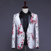 Floral Sequin Blazer Men Nightclub Prom Suit Jacket Blazers Mens DJ Stage Singer Costume Homme Wedding Groom Tuxedo Blazer Suits