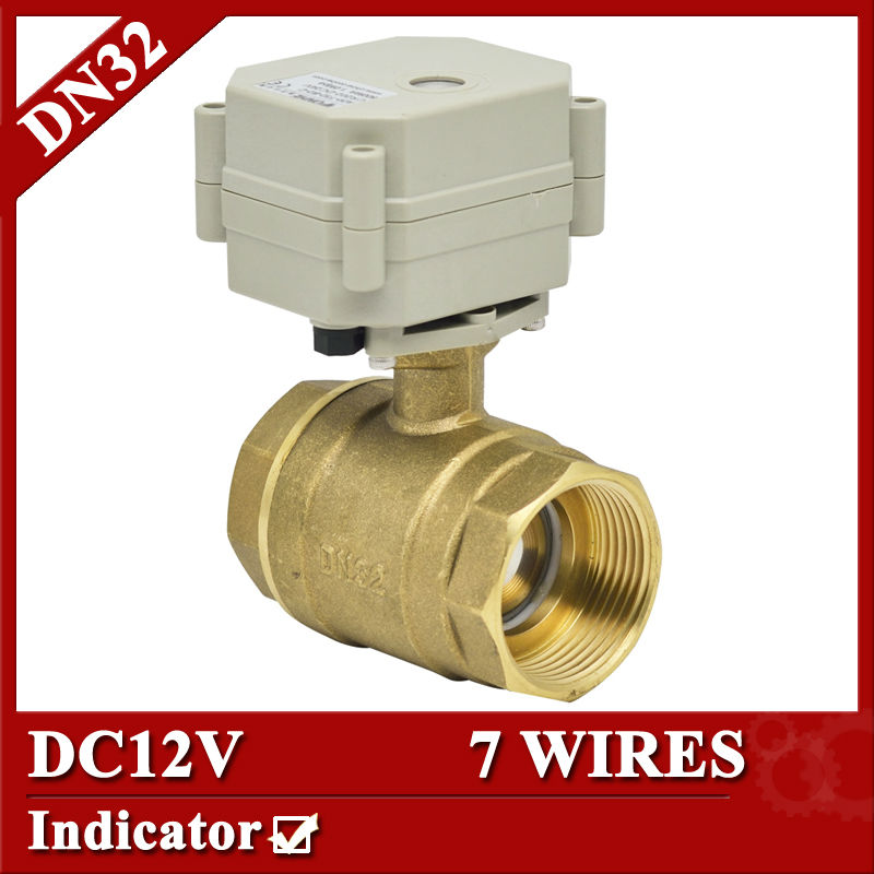 11/4 DC12V 7 wires electric automatic control valve, DN32 Electric ball valve 2 way full bore for water flow control 26 32 4 12 7