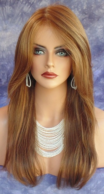 Fashionable Sexy High Quality Synthetic wigs women s Long Straight Brown hair  wigs no Bangs Full Natural wigs for women 4394eebb97