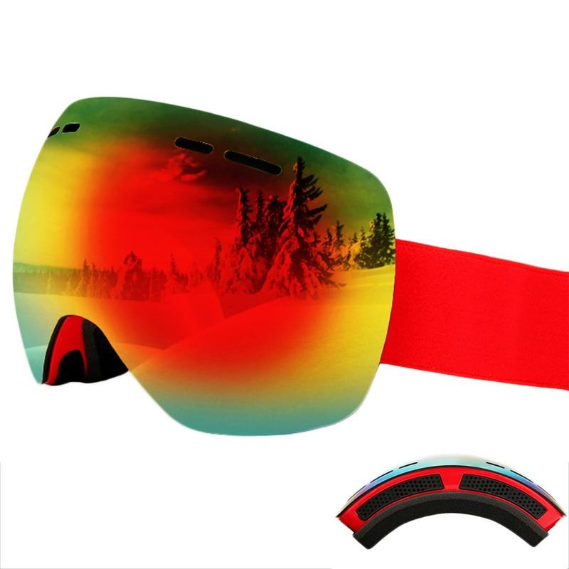 Двойные Линзы Горнолыжные Очки с случае UV400 Анти-туман сферической снег Очки Лыжный Спорт Для мужчин Для женщин