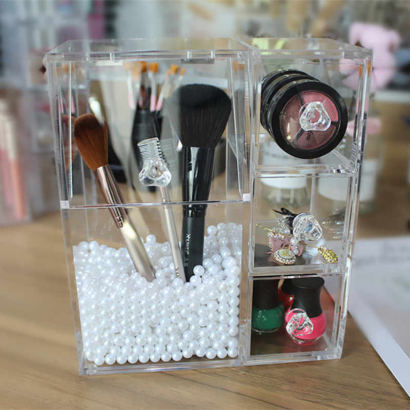 2018 Brush Cosmetic Organizer Clear Acrylic Makeup Organizer Clamshell Acrylic Brush Box Holder Storage