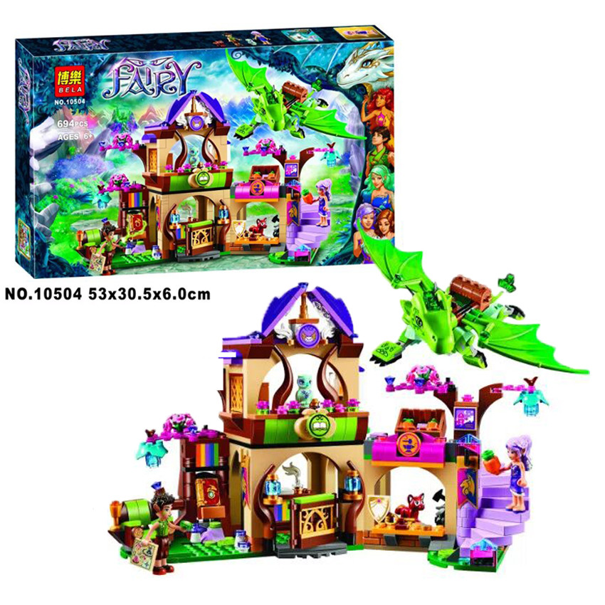 ФОТО Bela 10504 694Pcs Friend Elves The Secret Market Place Model Building Kit figure Blocks Brick Compatible Girl Toy Gift 41176
