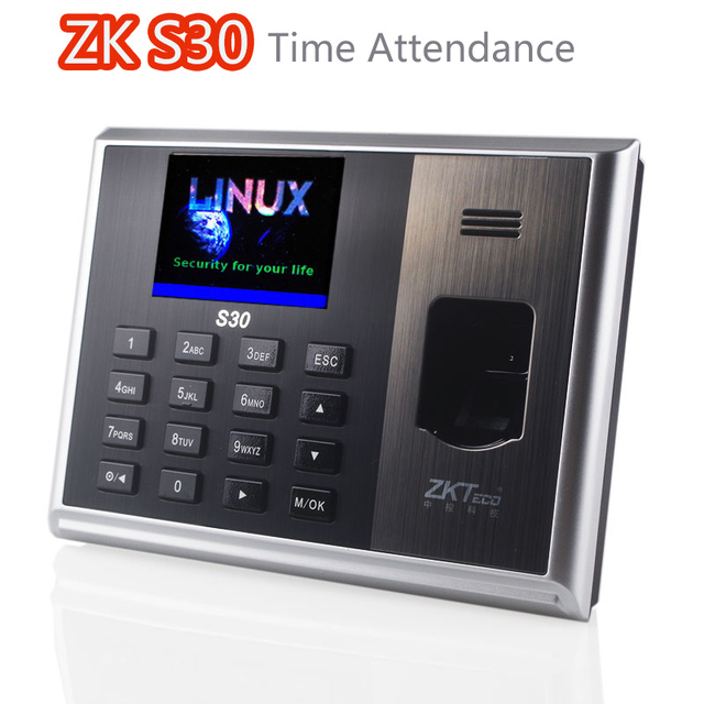 US $121 26 6% OFF|Fingerprint Time Attendance Biometric Time Clock by  Finger Network Professional Finger realand ZK S30 Linux System-in Electric