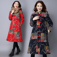 2017 Autumn S Printing Plate Buckles With Long Linen Thick Cotton Padded Clothes Coat Winter Jacket