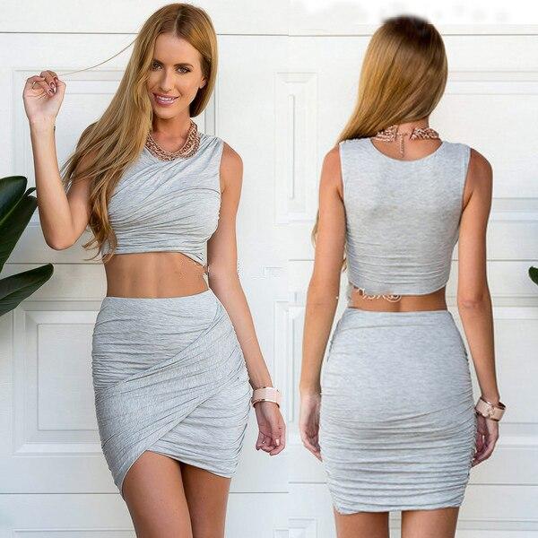 2016 Hot Sale Stylish Short Top   Summer Mini Skirt Solid Slim ...