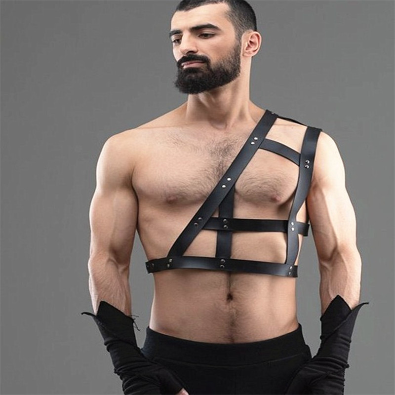 Goth Faux <font><b>Leather</b></font> Body Harness Shoulder <font><b>Belt</b></font> Waist <font><b>Belt</b></font> <font><b>Men</b></font> Muscle Bondage <font><b>Belts</b></font> Shoulder Wraped Straps <font><b>Sexy</b></font> One Shoulder <font><b>Belt</b></font> image