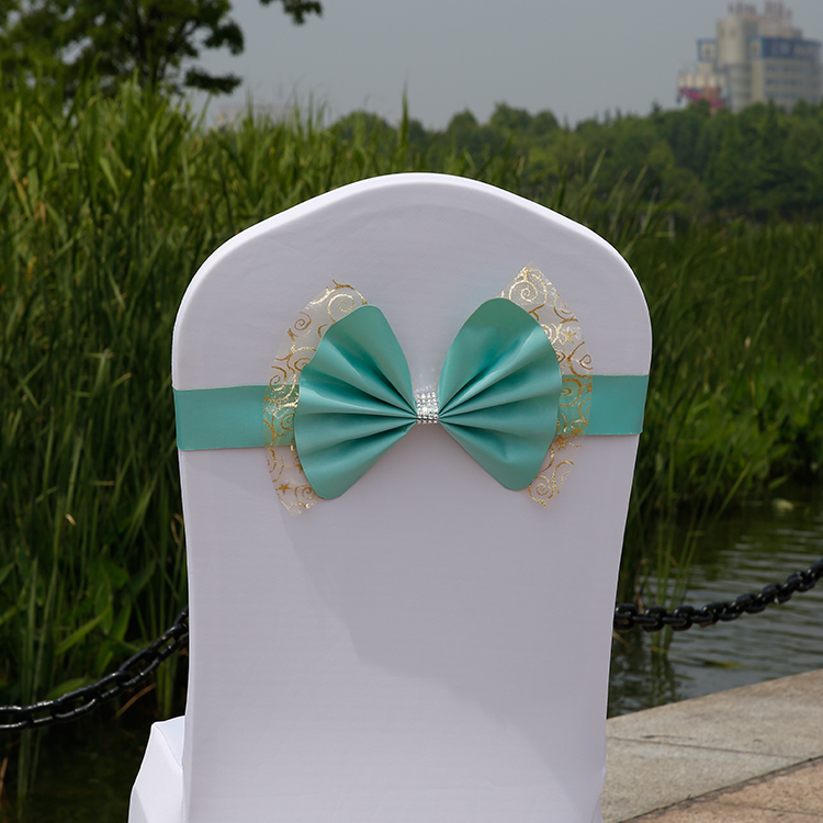 100pcs New Design chair back Bowknot Pattern Chair Bow Sashes Ribbon Chair Sashes for Party Wedding