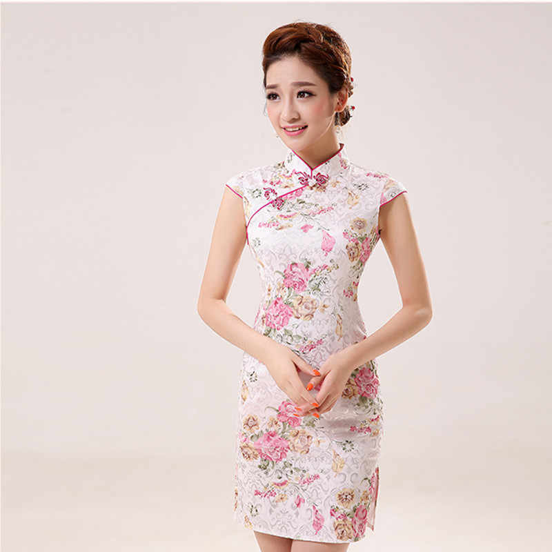42be4d4a3cf New Summer Silk Satin Cheongsam Chinese Traditional Dress Vestido  Sleeveless Female High Neck Qipao Unique Party
