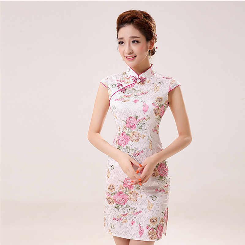 699abcfba8e4 New Summer Silk Satin Cheongsam Chinese Traditional Dress Vestido  Sleeveless Female High Neck Qipao Unique Party