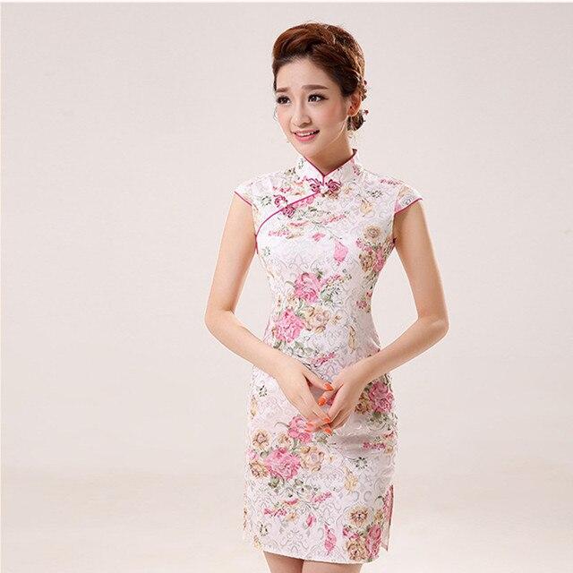 865f313eb8 Novo Verão de Cetim de Seda Cheongsam Vestido Tradicional Chinês Vestido  Sem Mangas Feminina Gola Alta