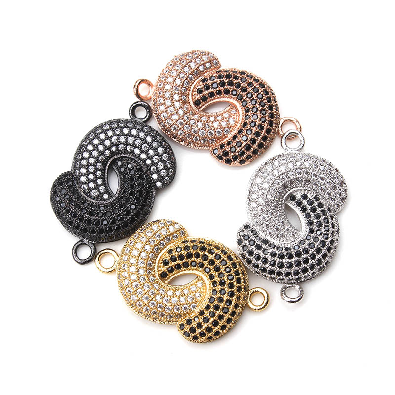 1pc 15*27mm Micro Pave Double Moon Charms Connectors Black White Crystal Fitting Women Diy Men Bracelet & Bangle Jewelry Finding