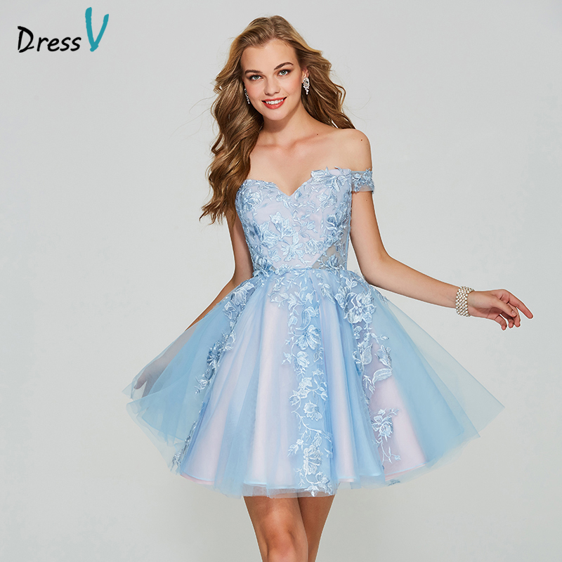 Dressv bleu short mini robe de bal outre de l'épaule une ligne pas cher zipper up manches appliques homecoming & graduation robe