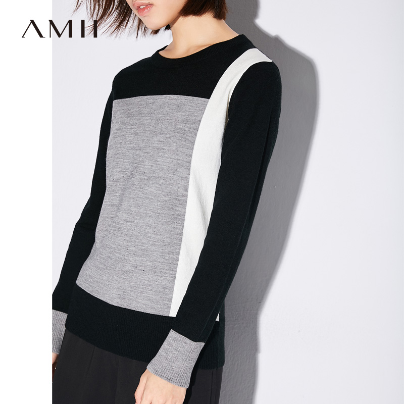 Amii Minimalist Casual Women Sweater 2019 Contrast Color Large color block Female Pullovers Sweaters