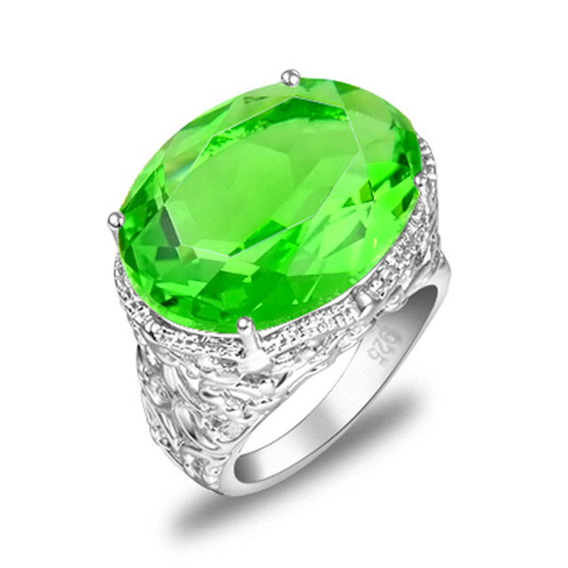 Promotion Jewelry Unique Green Quartz Crystal Silver Plated Wedding