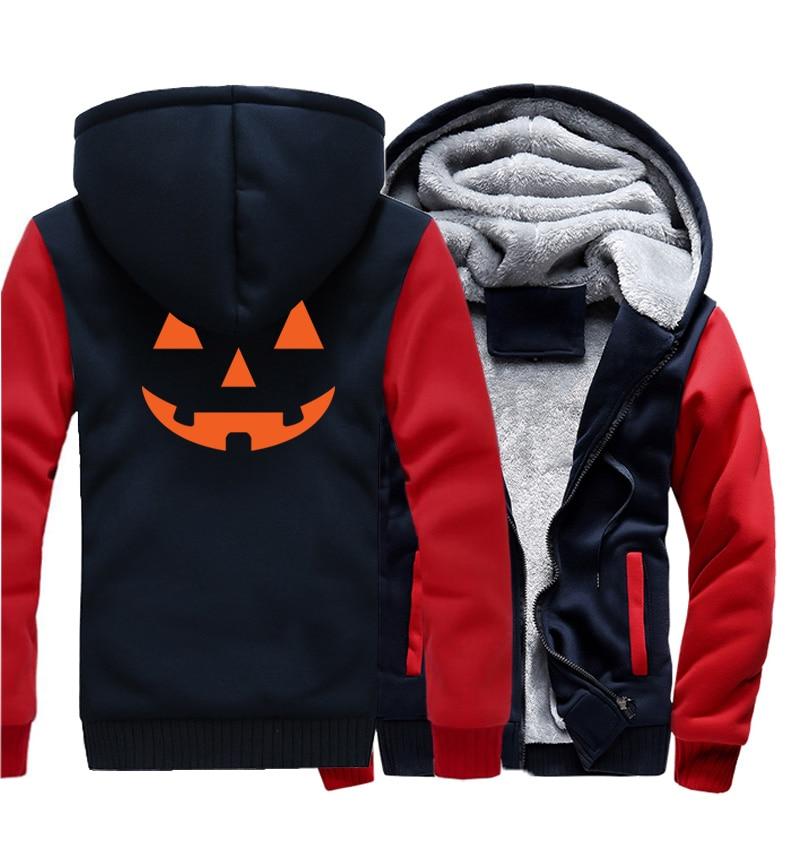 Men's Sportswear Hoodies Hip Hop 2017 Winter Fleece Sweatshirts JACK O' LANTERN PUMPKIN Halloween Costume Evil Smile Men Hoody