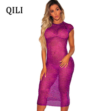 QILI Beach Smock Dress Women Plus Size Short Sleeve See Through Mesh Pencil Dresses Summer Bikini Sunscreen Casual Dress Female