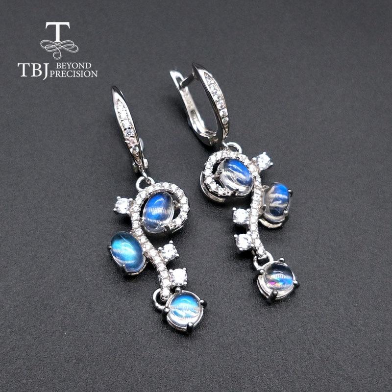 TBJ 100 Natural blue moonstone gemstone flower shape earring 925 sterling silver fine jewelry for woman