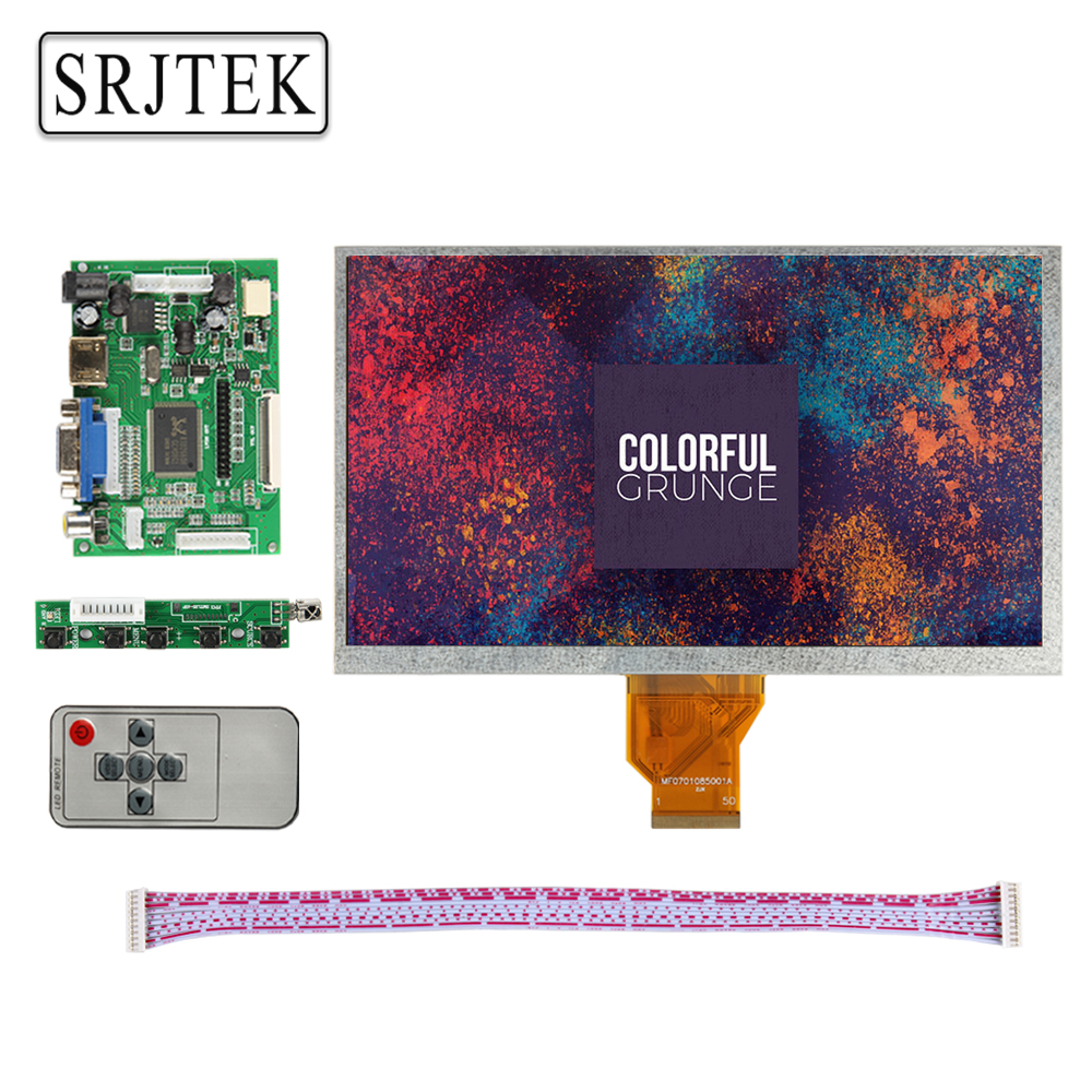 Srjtek 9 inch LCD Display Screen 800*480 AT090TN10 20000938-30 Monitor Remote Driver Board 2AV HDMI VGA For Raspberry Pi 12 inch 12 1 inch vga connector monitor 800 600 song machine cash register square screen lcd industrial monitor display