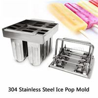 DIY Ice Cream Mould Durable 304 Stainless Steel Ice Pop Molds 8 Holes In One with Sticks Holder|Ice Cream Makers| |  -