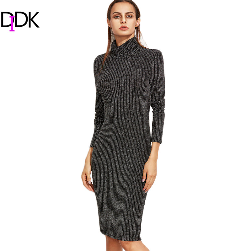 DIDK Winter <font><b>Dresses</b></font> Women Knee Length <font><b>Sweater</b></font> <font><b>Dress</b></font> Black Marled Knit Cowl Neck Long Sleeve <font><b>Ribbed</b></font> Pencil <font><b>Dress</b></font>