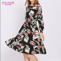 3f9b78f3eaa1c S.FLAVOR Autumn Floral Print Women Dresses Elegant Long Sleeve High Waist  Knee-length