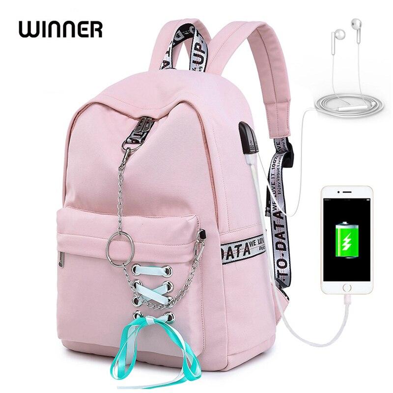 Image 2 - WINNER 2019 New Waterproof Women Backpack USB Charging Printing School Laptop Knapsack Female Travel Daily Mochila Bolsas Kawai-in Backpacks from Luggage & Bags
