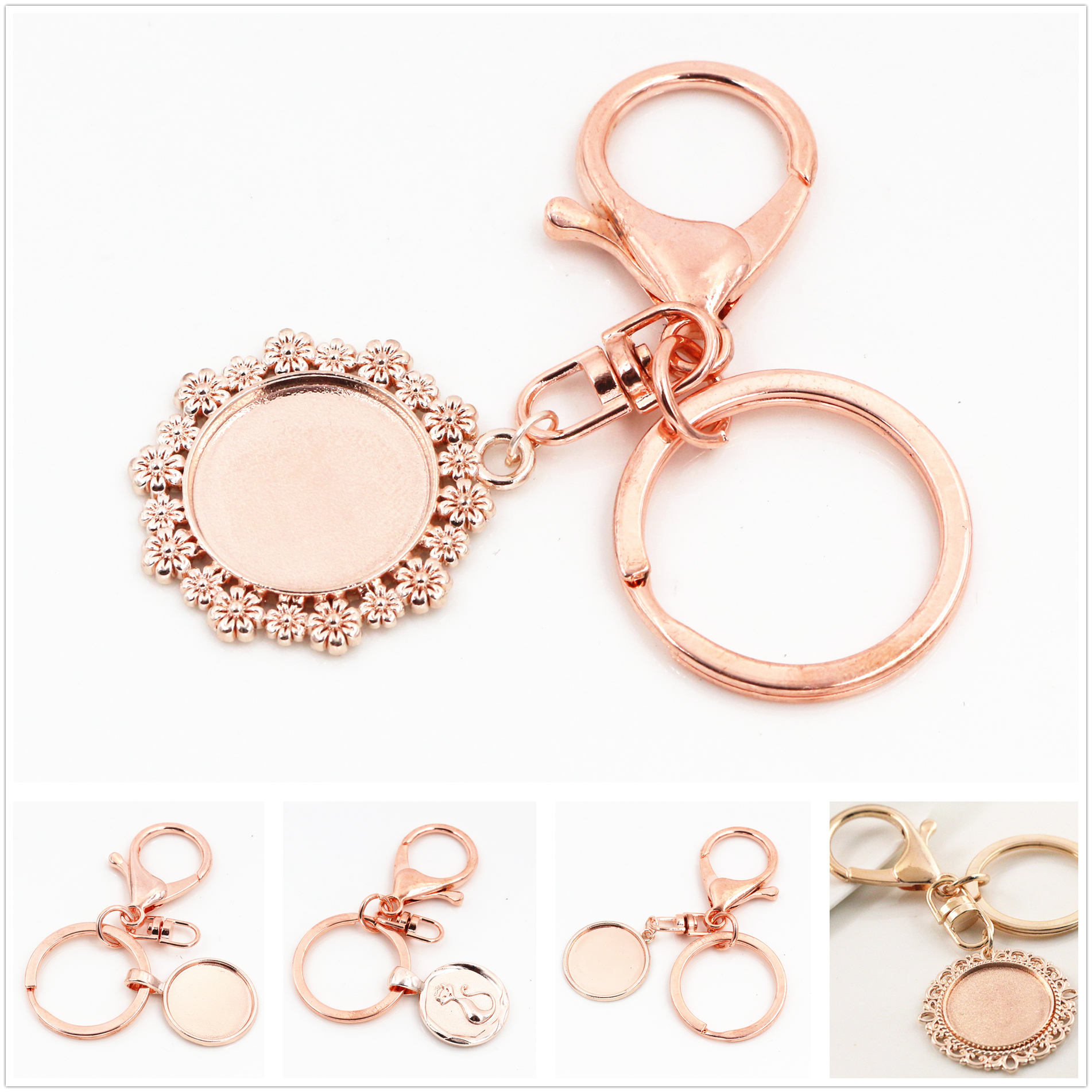 2pcs 20mm Inner Size Rose Gold Color Cameo Setting Base;Handmade Cameo Setting, Metal Key Chains Accessor