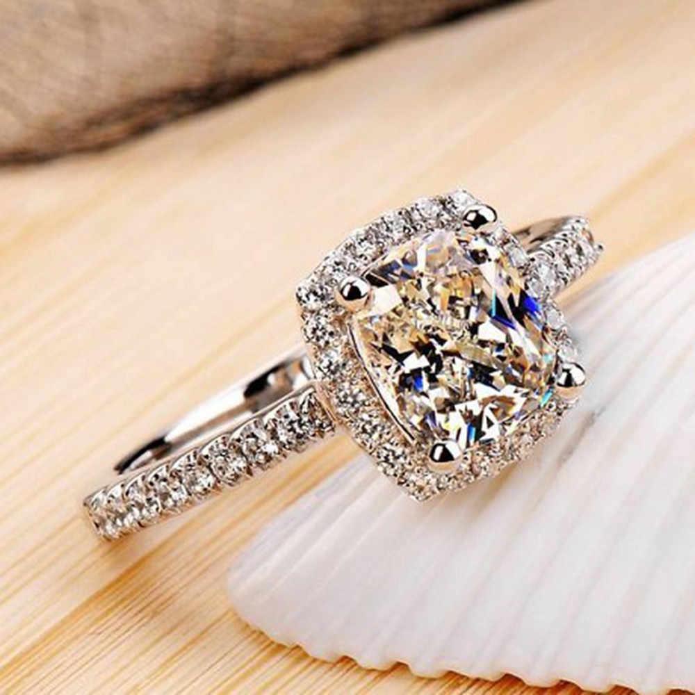 แฟชั่นผู้หญิงแหวนเจ้าสาวแต่งงานเครื่องประดับหมั้นสีขาวสีทองแหวนผู้หญิงสำหรับแหวนนิ้วมือผู้หญิงขาย
